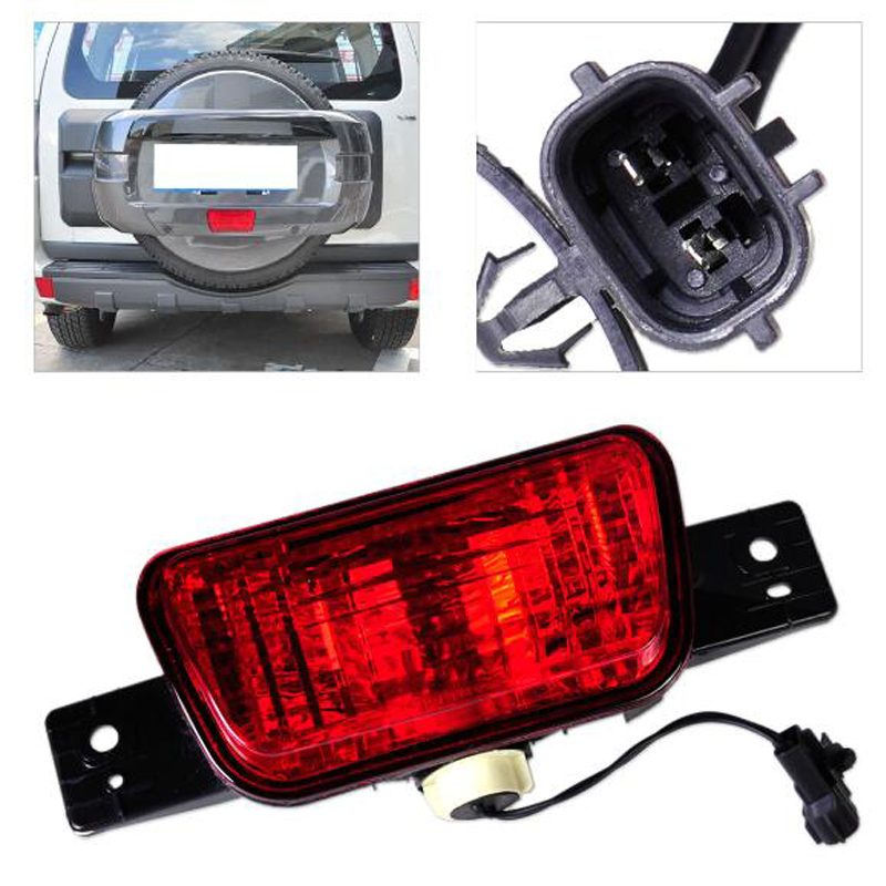 Rear Spare Tire Cover Fog LampTail Bumper Light Fit for Mitsubishi Pajero Shogun 2007 2008 2009 2010 2011 2012 2013 2014 2015 car rear trunk security shield shade cargo cover for nissan qashqai 2008 2009 2010 2011 2012 2013 black beige
