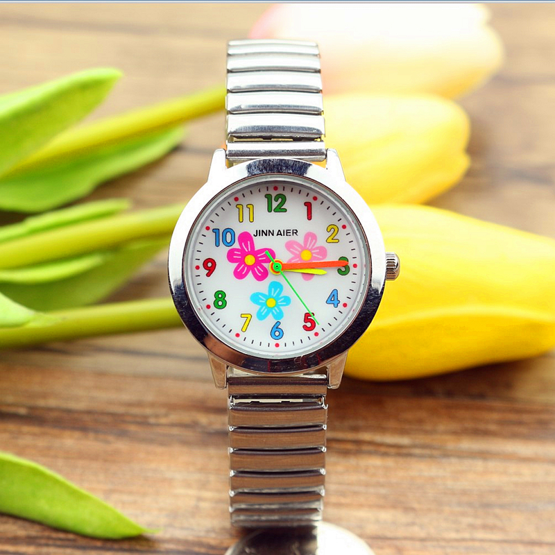 Free Shipping New Fashion Boys Girls Women Lovely Flower Dial Relojes Flexible Elastic Strap Easy To Wear Colorful Cartoon Watch