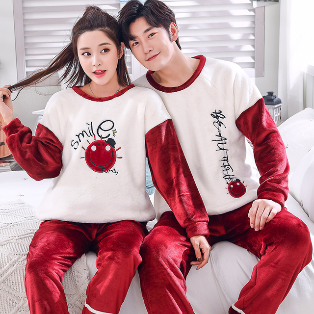 Flannel Pattern Winter Couples Pajamas Set For Women Men Flannel Fabric  Sleepwear Pyjamas Suit Home Christmas ff643fcc2