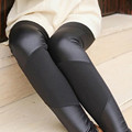 FREE SHIPPING  stitching leather leggings Womens Fashion Leather Patch  for Women Jean Pants Long  Trousers