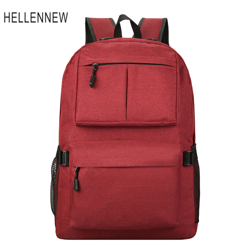 Hellennew 2017 Unisex Canvas 14 inch Laptop Backpack External USB Charge Computer Backpacks Teenager Student School Bag 9466