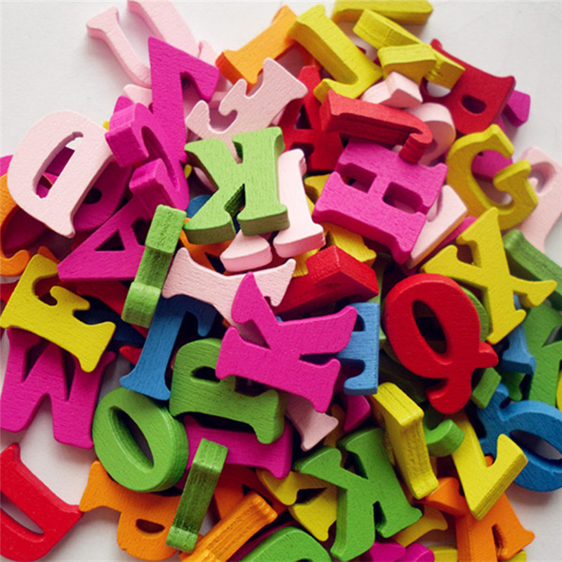 100pcs/lot Kids DIY Wooden Alphabet Crafts Kids Toy Educational Scrabble Letters Colorful Craft Jigsaw Puzzles Toys