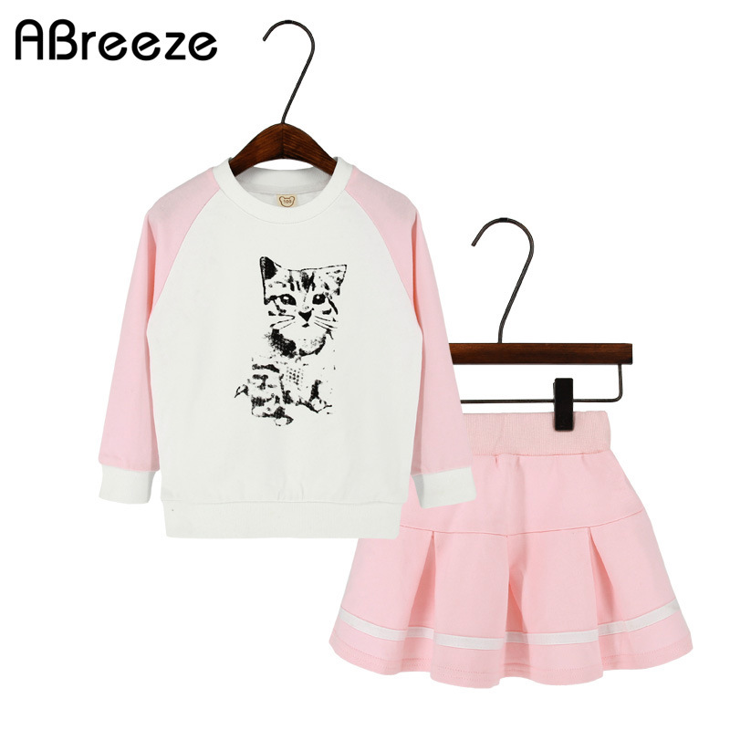 2018 New Spring autumn girls clothing fashion cat print children clothes sets for girls 2-8Y cotton long sleeve girls sets SQ069 new autumn sweet girls sets two piece cardigan outwear cape jacket long sleeve dress cotton lace kids girls clothes sets