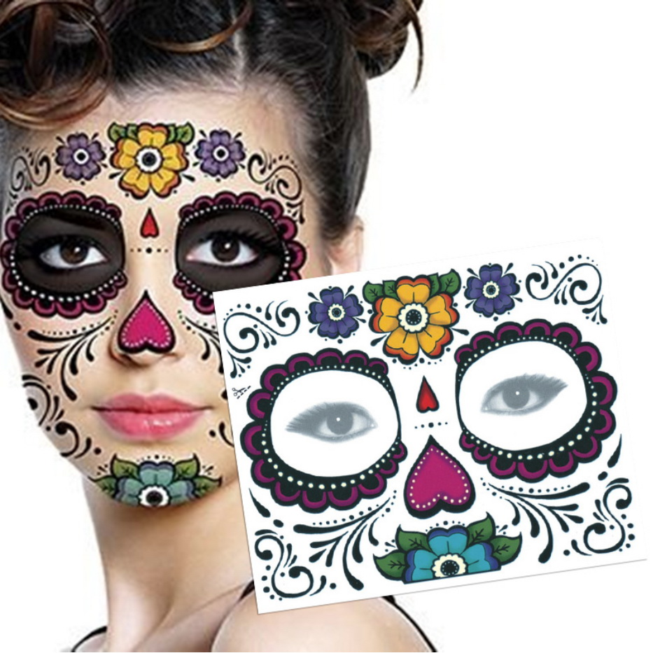 Mexican Day Of The Sugar Skull Mask Halloween Cool Beauty Face Tattoo Waterproof Hot Temporary Tattoo Stickers For Makeup Party