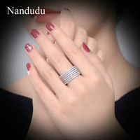 Nandudu Sparkling Austrian Crystal White Gold Color Ring 2017 New Deluxe Female Women Glittering Rings Luxury