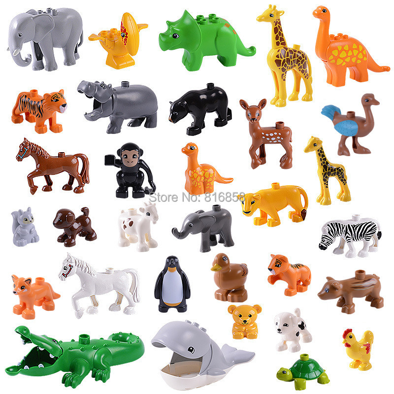 New Animals Building Blocks Toys Brown Duck Ostrick Fox Wild Boar Deer Squirrel Compatible with Duploes