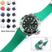 20mm gumowy pasek do zegarka kamuflaż do łodzi podwodnej GMT Daytona bransoletka Watchband Oyster Flex Explorer stalowa klamra do Seiko