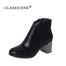 Купить с кэшбэком CLASSICONE 2019 New Woman shoes women's ankle boots spring autumn genuine leather pumps brand fashion luxury plush sexy style