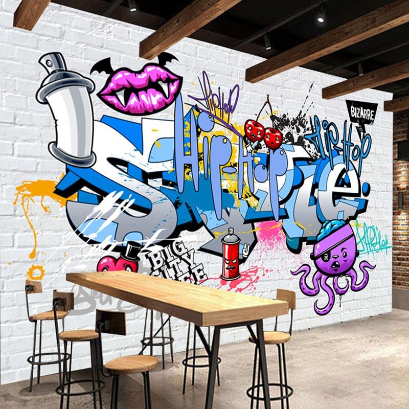 Custom 3D Mural Wallpaper Street Art Graffiti Cartoon Hand Painted Brick Wall Background Decor Wall Painting Non-woven Wallpaper