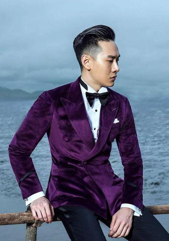 2017 Latest Coat Pant Designs Purple Velvet Men Suit Prom Jacket Slim Fit Tuxedo Custom Groom Blazer Style Suits Terno Masculino