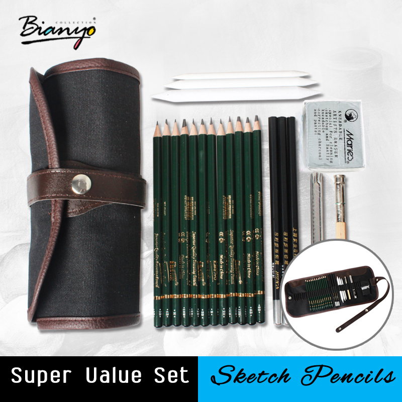 Bianyo 18Pcs Pencil Sketch Pencil Set artist's pencils Earser Drawing supplies With Sketch Painting Canvas Pencil Bag Set