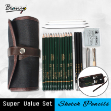 Bianyo 18Pcs Pencil Sketch Set artists pencils Earser Drawing supplies With Painting Canvas Bag