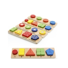 цена 2pcs/pack Wooden shape matching Building Blocks Kids Educational Montessori Geometric Assembly Matching Cognitive Blocks Toys онлайн в 2017 году