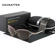 HDCRAFTER Fashion Polarized Sunglasses High Quality Brand Designer Metal Frame Woman Classic Sun Glasses UV400 Leisure Eyewear