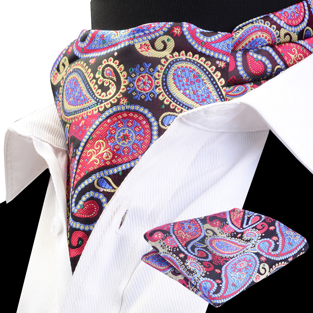RBOCOTT Men's Ascot Handkerchief Set Vintage Luxury Classic Paisley Cravat Pocket Square Set Scrunch Self For Men Wedding Suit