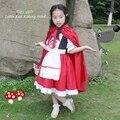 Free ship children girls little red riding hood fairy dress with cloak halloween Costume new