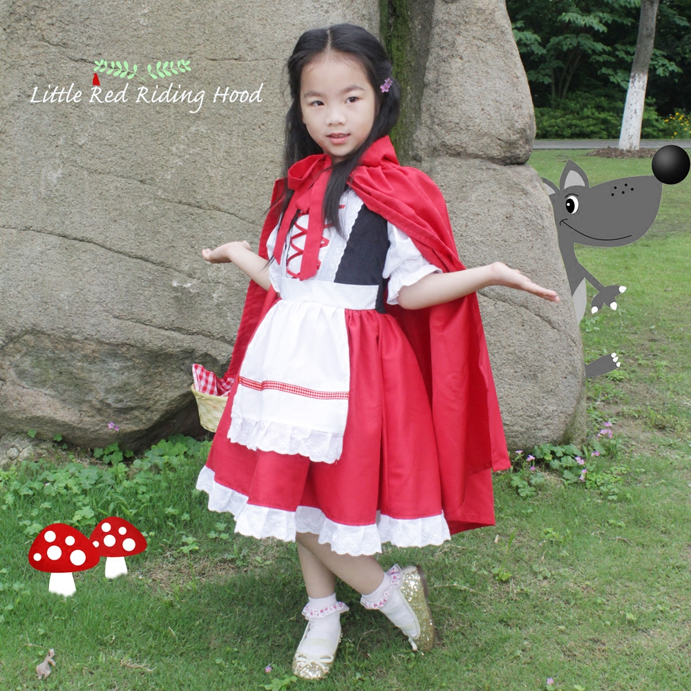 Free ship children girls little red riding hood fairy dress with cloak halloween Costume new