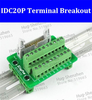 IDC20P IDC 20 Pin Male Connector to 20P Terminal Block Breakout Board Adapter PLC Relay Terminals DIN Rail Mounting--5pcs/lot
