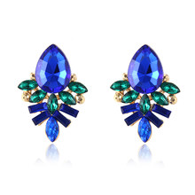 Women's fashion stud earrings New Fashion metal with Earring Handmade Rhinestone earring for girls boucle d'oreille femme e0199(China)