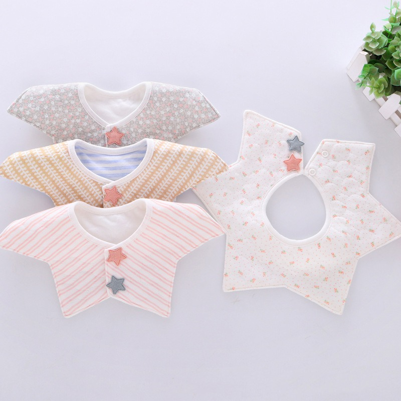 все цены на Lovely Flower Style Baby Bibs Rotating double snap Fashion Pattern Dot Striped Star Bibs Girls Boys