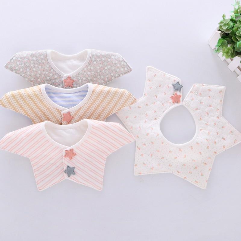 Lovely Flower Style Baby Bibs Rotating Double Snap Fashion Pattern Dot Striped Star Bibs Girls Boys