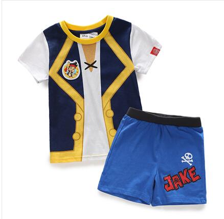 HOT! frete grátis New arrival verão JAKE E OS PIRATAS DO NEVERLAND roupas menino Crianças trajes de manga curta t-shirts para os meninos