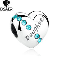 2016 New Blue Crystals 925 Sterling Silver Daughter Heart Charms Fit Pandora Bracelet Jewelry Making Family
