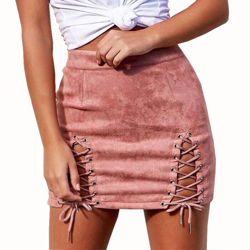 Ebizza Autumn Lace Up Suede Leather Split Short Skirts Women Bodycon Pencil Bandage Tie Sexy Mini