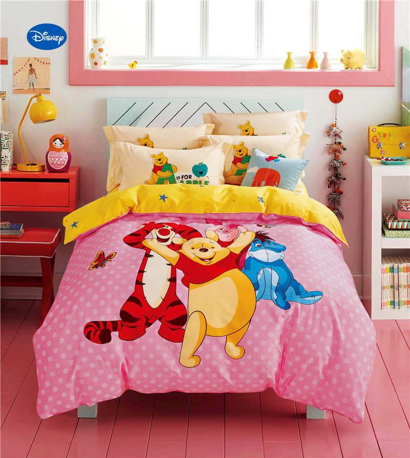 US $69.95 34% OFF|Winnie the Pooh Freund Tröster Bettwäsche sets kinder  Schlafzimmer 600TC Baumwolle Bettdecken Einzigen Twin Voll Königin Größe  Rosa ...
