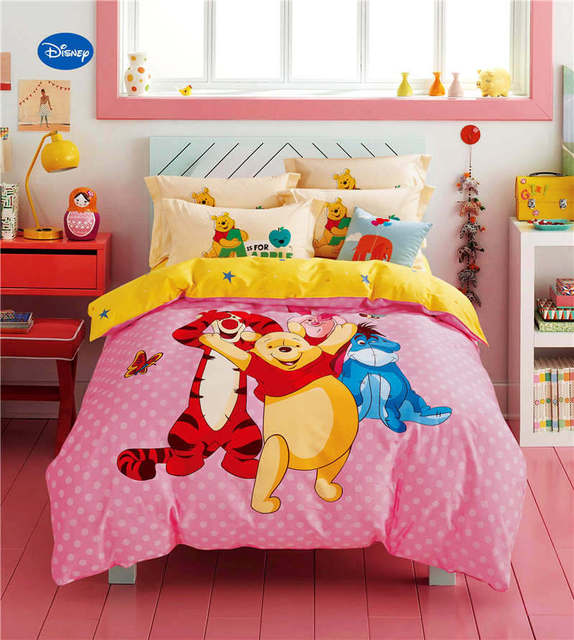 US $105.99 |Winnie the Pooh Friend Comforter Bedding Sets Children\'s  Bedroom 600TC Cotton Bed Covers Single Twin Full Queen Size Pink Yellow-in  ...