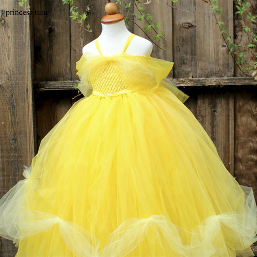 Yellow Party Flower Girl Dress Tulle Tutu Belle Princess Dress Costume Halloween Beauty And Beast Cosplay Dress For Kids Pageant