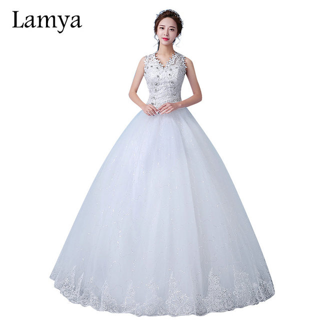 Plus Size Latest Wedding Gown Lamya 2017 Lace Designs V Neck Crystal Beaded Flowers Bottom