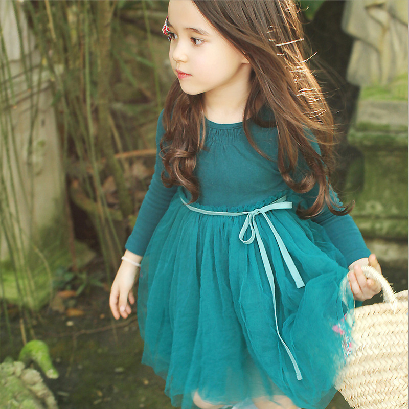 DAQURJE Autumn Girls Dress 2018 Casual Long Sleeves Cotton Mesh Tutu Kids Dresses For Girl Autumn Clothing Cute Princess Dress 2017 autumn girl long sleeves dress fashion baby casual kids cotton dress print rainbow 3 8 year old children s clothing lh6010