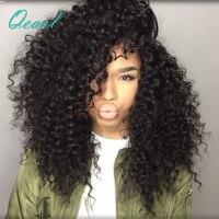 Афро Курчавые Full Lace человеческих волос парики с ребенком волос 150% плотность предварительно сорвал бразильский Волосы remy парики для Для жен