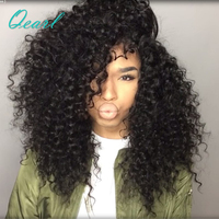 Afro Kinky Curly Full Lace Human Hair Wigs With Baby Hair 150% Density Pre Plucked Brazilian Remy Hair Wigs For Women Qearl Hair