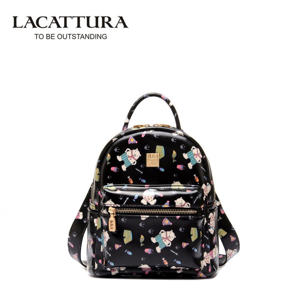 LACATTURA Personality Fashion Backpacks Women Travel Girl Backpack School Bags for Teenagers Mochila Escolar PU Leather