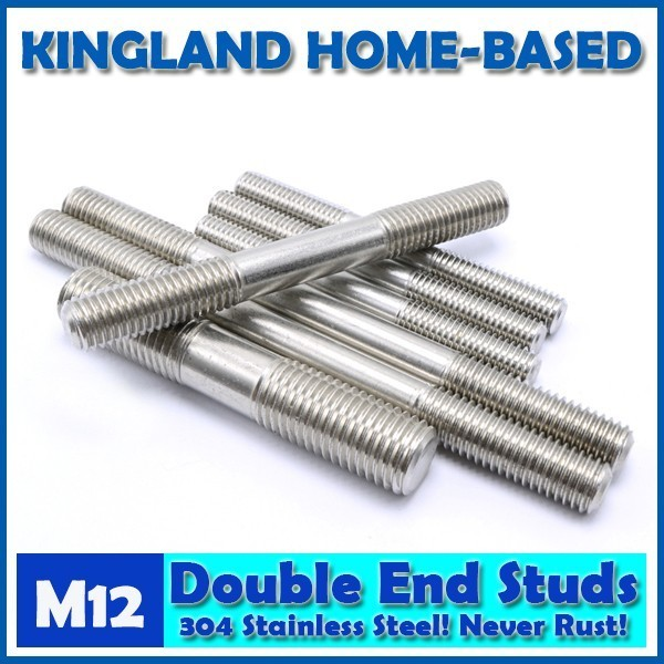 M12 Double End Studs 304 Stainless Steel Double End Thread Tight Adjustable Push Rod Stud Screw Bolt Silver Ton
