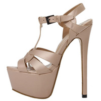 Hot Sexy Super High Platform Woman Sandal Sexy Open Toe T Strap Nude Leather High heel Shoe Summer Cutouts Gladiator Sandal