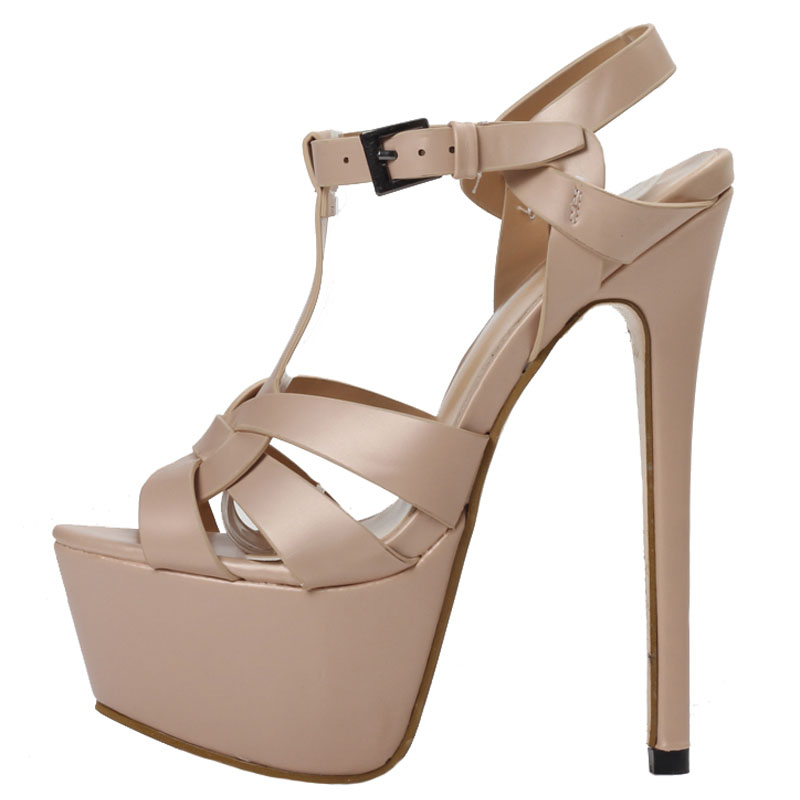 Hot <font><b>Sexy</b></font> Super <font><b>High</b></font> <font><b>Platform</b></font> Woman <font><b>Sandal</b></font> <font><b>Sexy</b></font> Open Toe T-Strap Nude Leather <font><b>High</b></font> <font><b>heel</b></font> Shoe Summer Cutouts Gladiator <font><b>Sandal</b></font> image