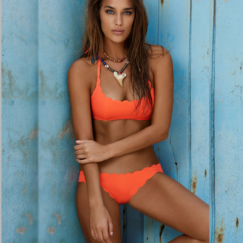QIANG YI 2017 Styles Padded Lace Push up Orange Sexy Bikinis Set Women Straps Swimwear Swimsuit Maillot de bain Bathing Suit