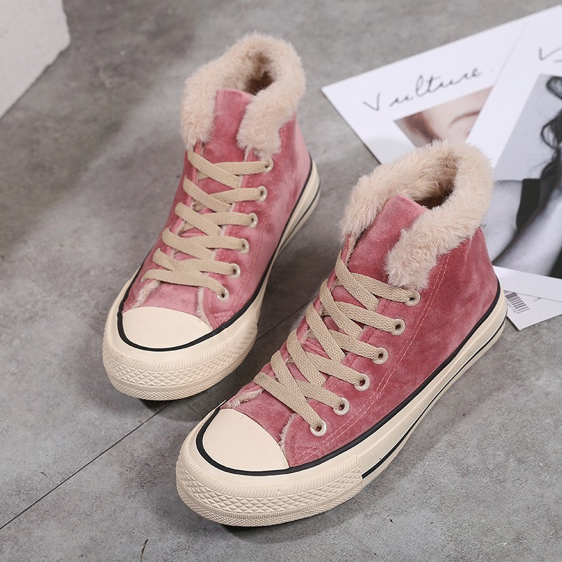 Winter Shoes Women Fashion Platform Sneakers Trending Style Female Solid Color Short Plush Black Pink High Top Winter Sneakers