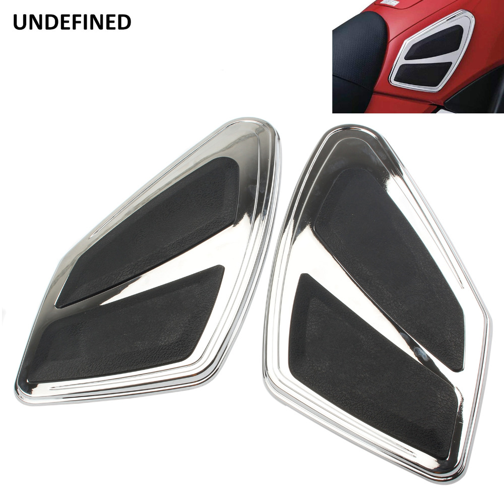 UNDEFINED Chrome Motorcycle Tank Traction Pad Decal Knee Grip Protector Stickers Moto For Honda Goldwing GL1800