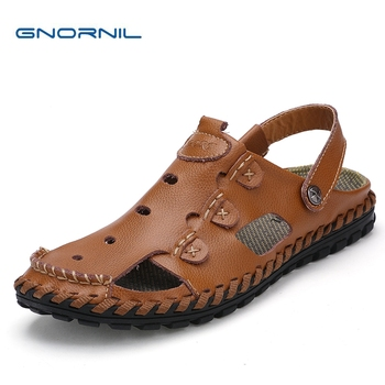 GNORNIL Brand Casual Men Sandals Slippers Summer 2018 Fashion Genuine Leather Hand-sewn Men Shoes Non-slip Rubber Beach Shoes