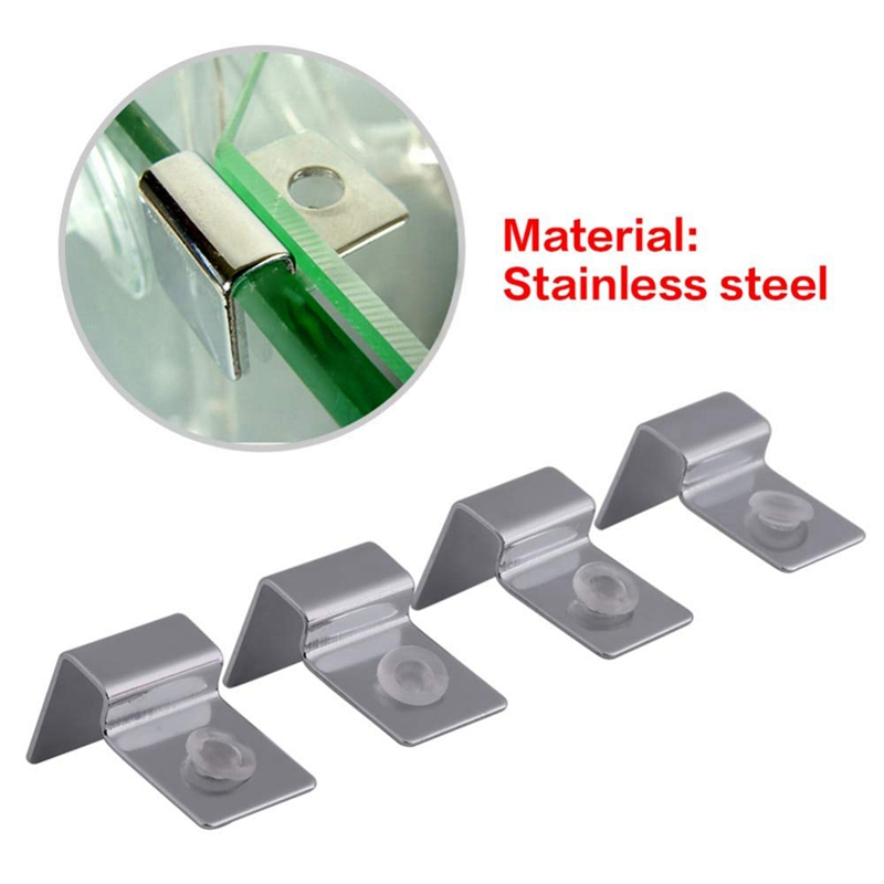 4pc 6/8/10/12mm Stainless Steel Aquarium Glass Fish Tank Fixed Cover Clip Clamp Bracket Holder Lamp Filter Barrel Support Holder