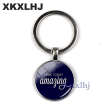 XKXLHJ Fashion Brand Today Beautiful Keychain Offer Key Ring Handmade Jewelry Glass Convex Round Chain Men And Women