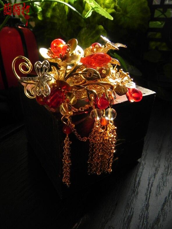 Colored glaze Plum Blossom classical hair stick with tassel vintage original handmade hair stick for princess or bride цены онлайн