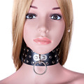 PU Leather Black Neck Collar Sex Adult Game Fetish Restraint Sex Toys Bondage Restraints Slave Sex Products for Couples Women