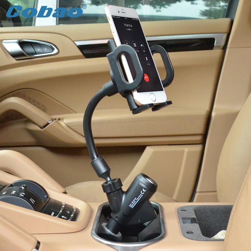 Цена за Cobao Многофункциональный Универсальный Dual USB Автомобильное Зарядное устройство мобильный телефон держатель Кронштейн стоит для iPhone 5 6 плюс Galaxy S4 S5 S6 GPS