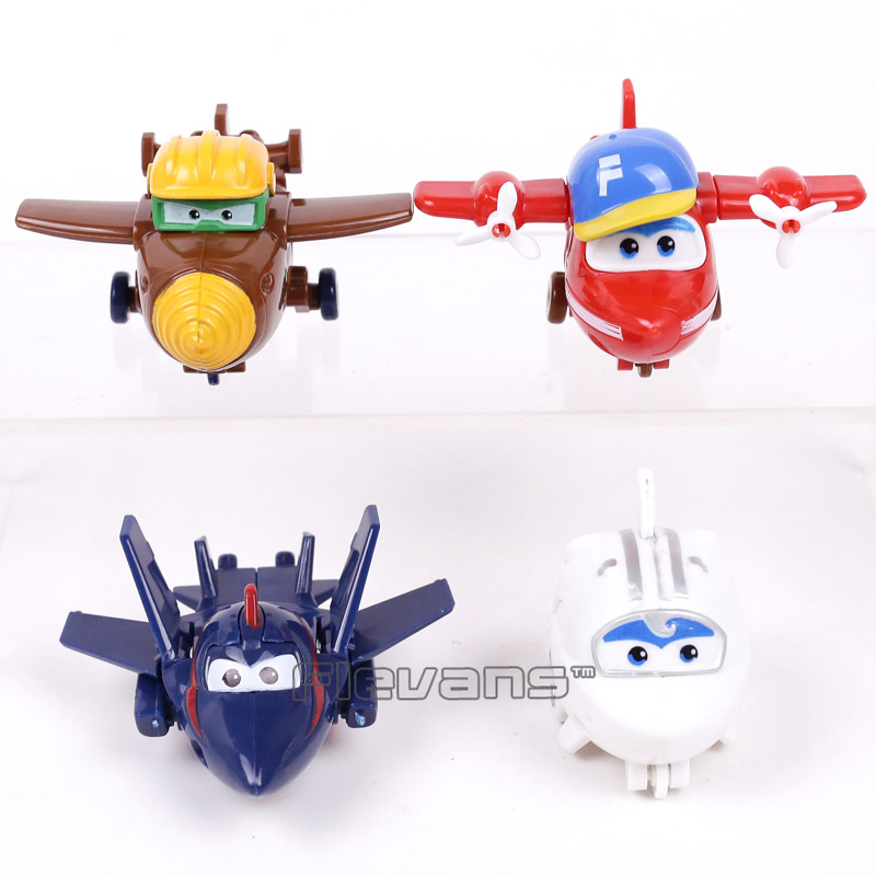 Super Wings Planes Transformation Robot PVC Figures Toys for Kids Boys Gifts 4pcs/set 7 pcs set with original package transformation robot cars and prime toys action figures classic toys for kids christmas gifts