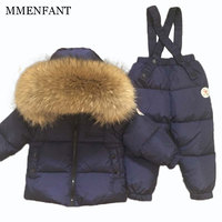 Winter thickening White duck down jacket boys girls ski suit children's clothing sets real Raccoon fur collar jacket suit kids